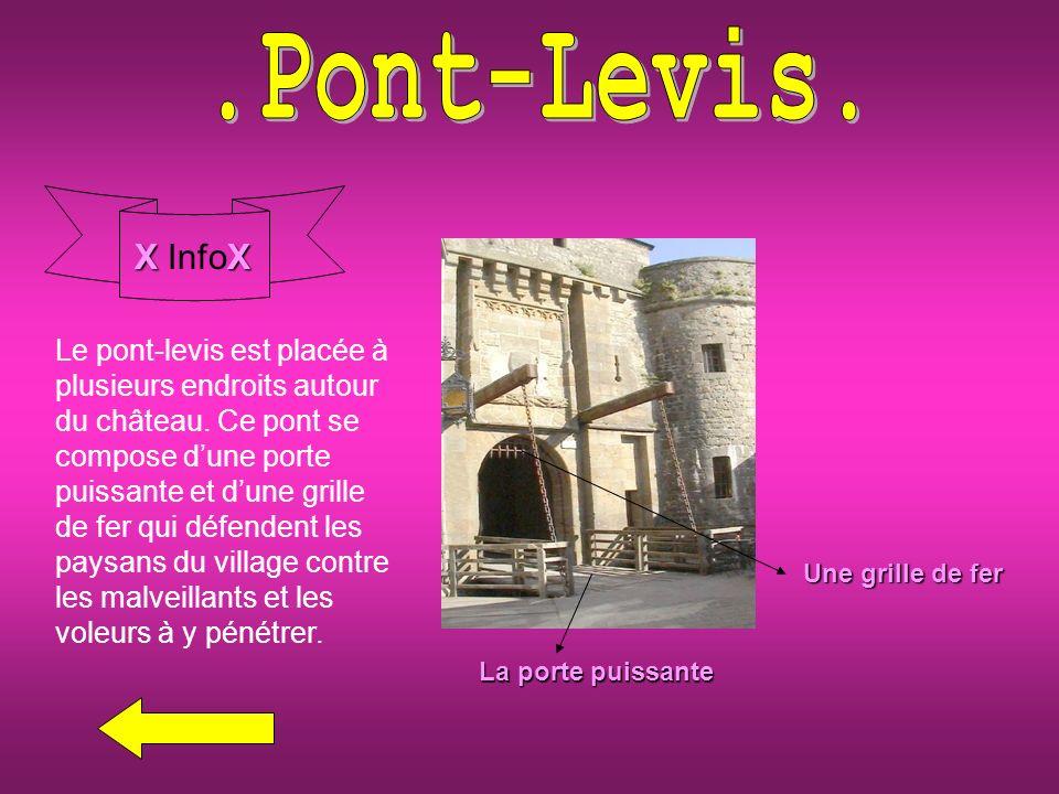 Une grille de fer La porte puissante XX X InfoX Le pont-levis est placée à plusieurs endroits autour du château.