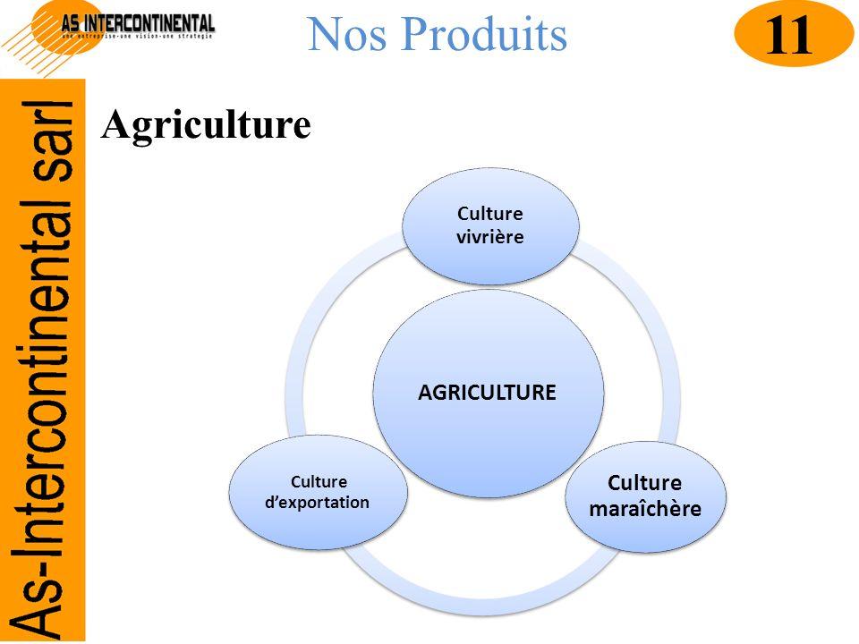 Nos Produits AGRICULTURE Culture vivrière Culture maraîchère Culture dexportation Agriculture 11