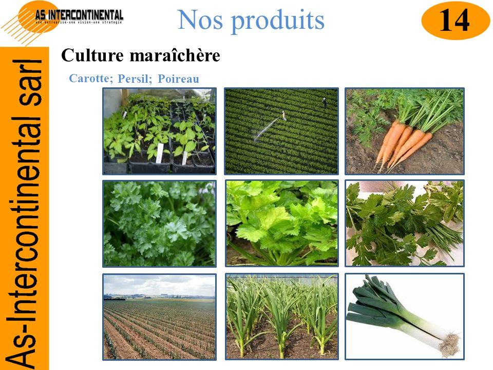 Nos produits Culture maraîchère Carotte; 14 Persil;Poireau