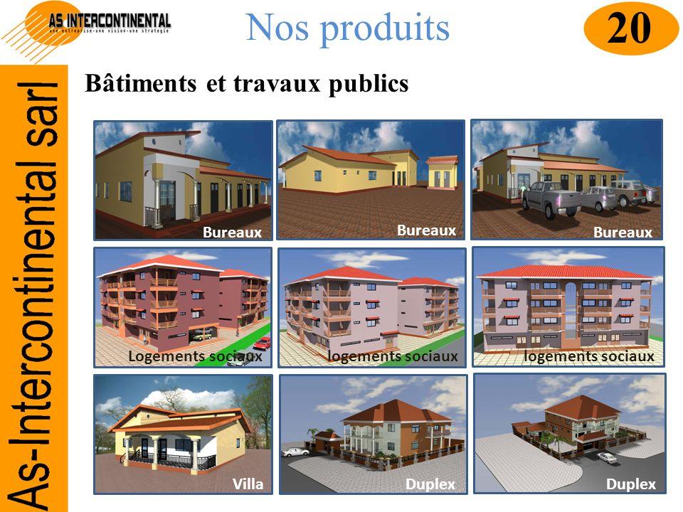 Nos produits Bâtiments et travaux publics 20 Bureaux Logements sociauxlogements sociaux VillaDuplex