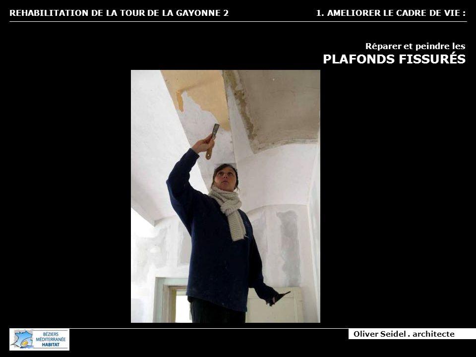 Oliver Seidel. architecte REHABILITATION DE LA TOUR DE LA GAYONNE 2 1. AMELIORER LE CADRE DE VIE : Réparer et peindre les PLAFONDS FISSURÉS