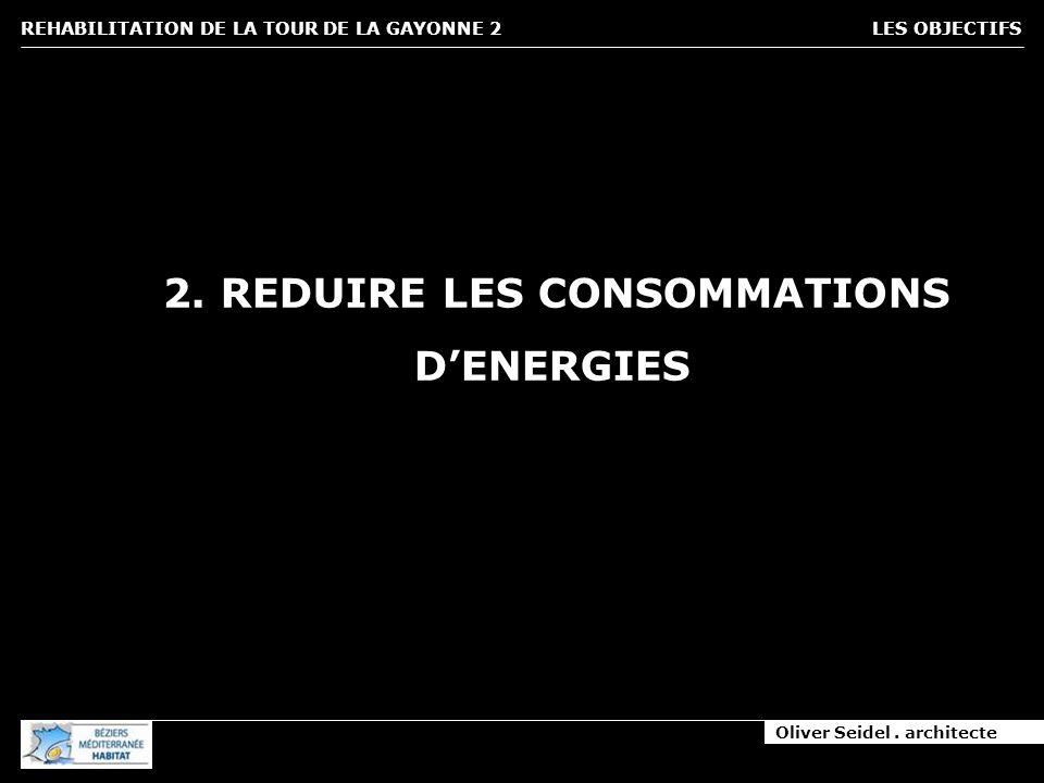 Oliver Seidel. architecte REHABILITATION DE LA TOUR DE LA GAYONNE 2 LES OBJECTIFS 2. REDUIRE LES CONSOMMATIONS DENERGIES