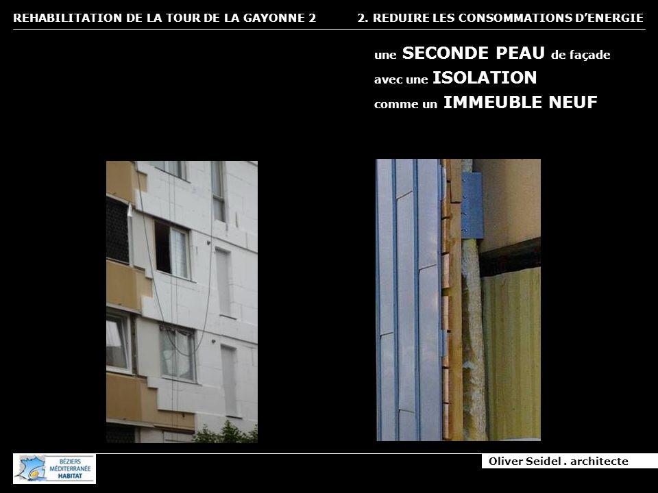 Oliver Seidel. architecte REHABILITATION DE LA TOUR DE LA GAYONNE 2 2. REDUIRE LES CONSOMMATIONS DENERGIE une SECONDE PEAU de façade avec une ISOLATIO