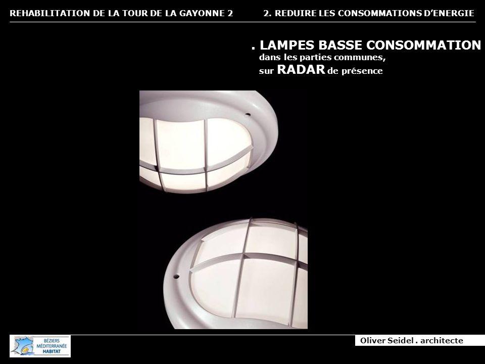 Oliver Seidel. architecte REHABILITATION DE LA TOUR DE LA GAYONNE 2 2. REDUIRE LES CONSOMMATIONS DENERGIE. LAMPES BASSE CONSOMMATION dans les parties