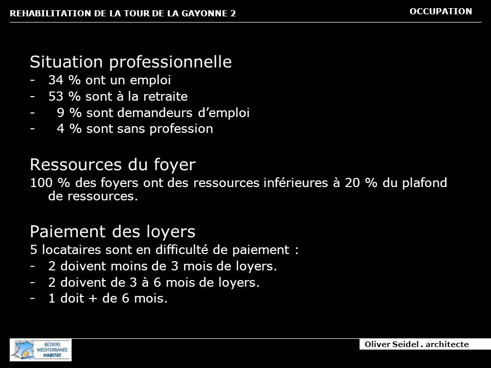 Oliver Seidel. architecte REHABILITATION DE LA TOUR DE LA GAYONNE 2 OCCUPATION Situation professionnelle -34 % ont un emploi -53 % sont à la retraite