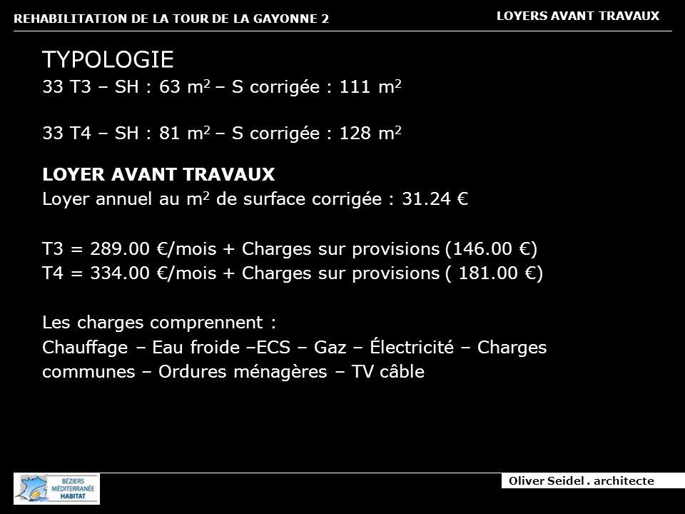 Oliver Seidel. architecte REHABILITATION DE LA TOUR DE LA GAYONNE 2 LOYERS AVANT TRAVAUX TYPOLOGIE 33 T3 – SH : 63 m 2 – S corrigée : 111 m 2 33 T4 –