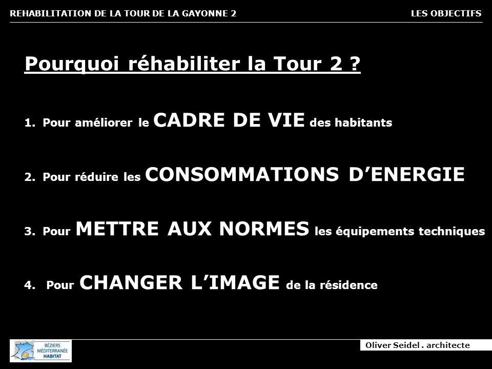 Oliver Seidel. architecte REHABILITATION DE LA TOUR DE LA GAYONNE 2 LES OBJECTIFS Pourquoi réhabiliter la Tour 2 ? 1.Pour améliorer le CADRE DE VIE de
