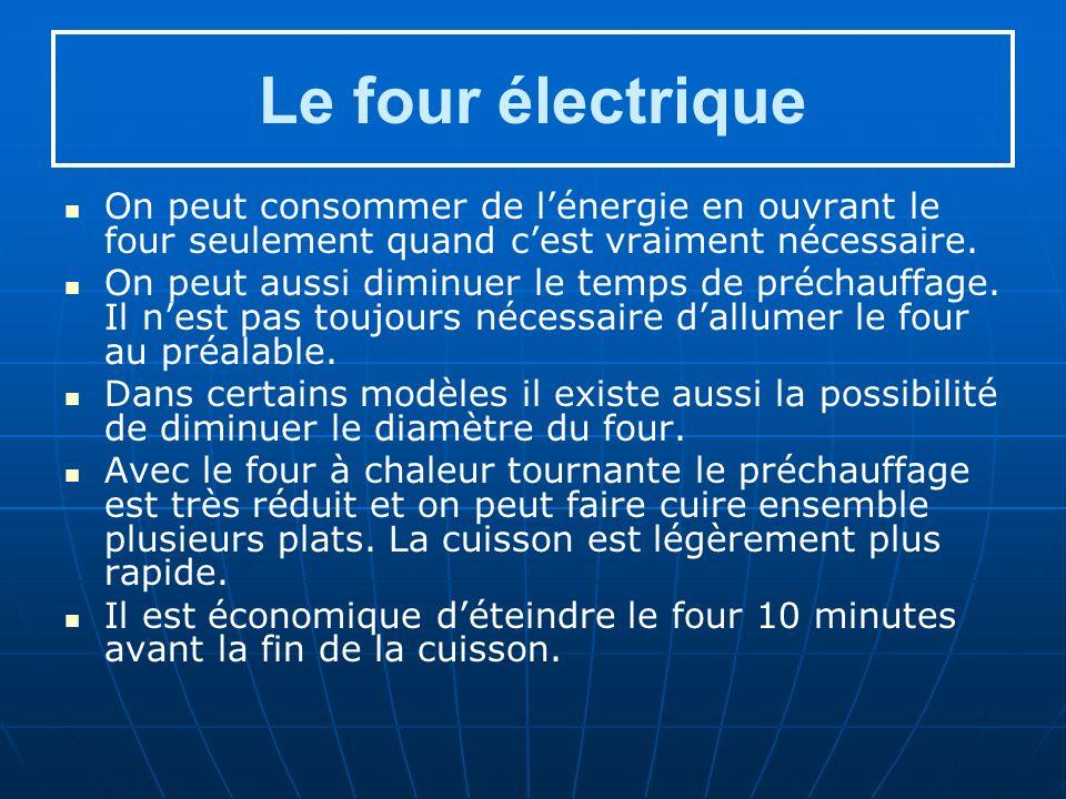 Le four électrique On peut consommer de lénergie en ouvrant le four seulement quand cest vraiment nécessaire.