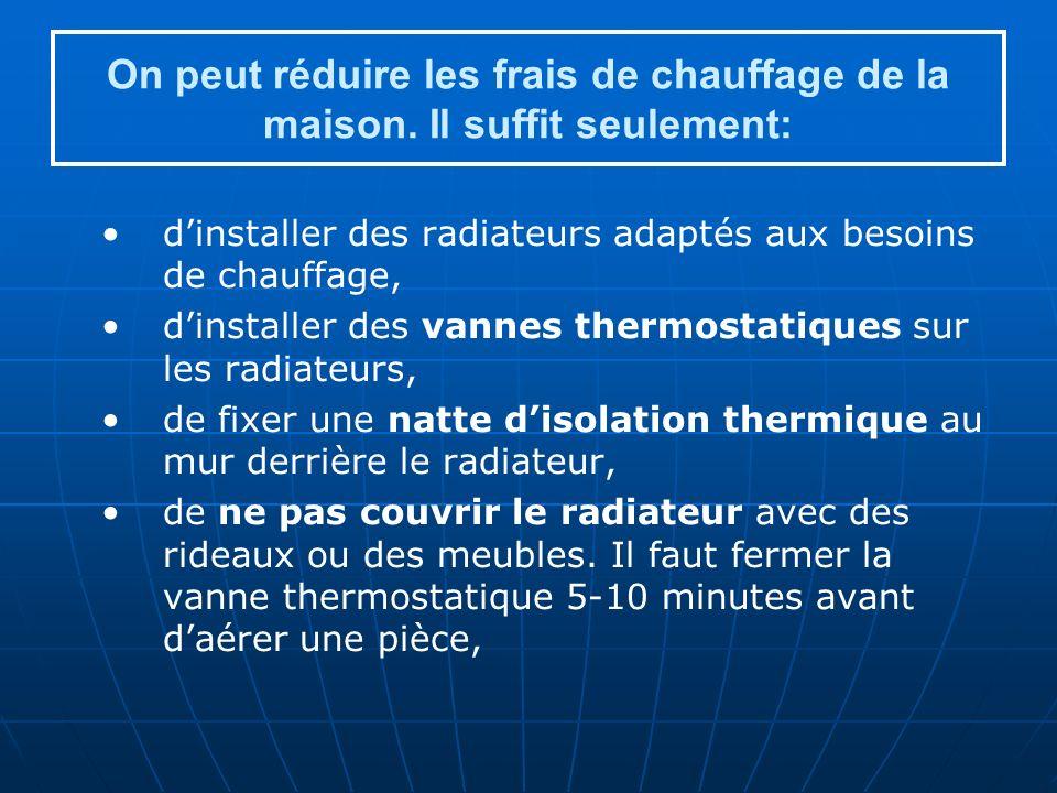 On peut réduire les frais de chauffage de la maison.