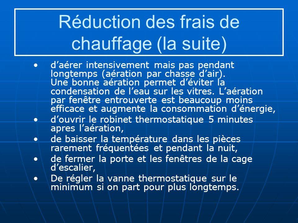 Réduction des frais de chauffage (la suite) daérer intensivement mais pas pendant longtemps (aération par chasse dair).