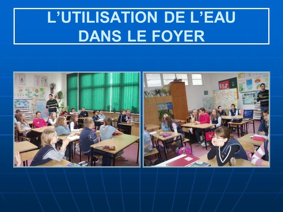 LUTILISATION DE LEAU DANS LE FOYER