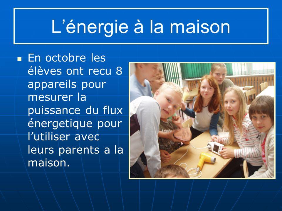 Lénergie à la maison En octobre les élèves ont recu 8 appareils pour mesurer la puissance du flux énergetique pour lutiliser avec leurs parents a la maison.