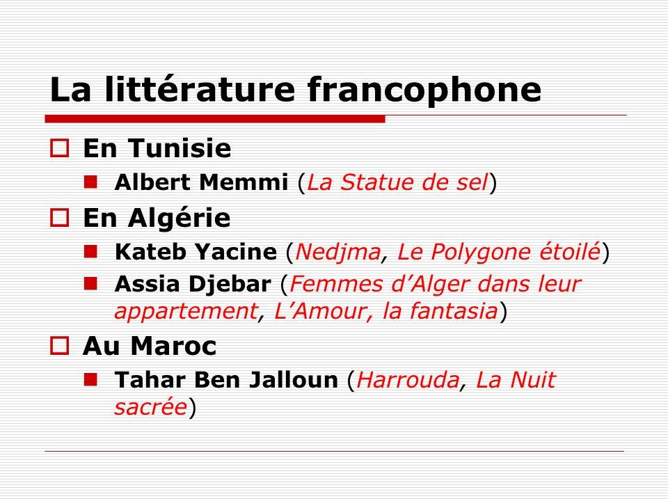 La littérature francophone En Tunisie Albert Memmi (La Statue de sel) En Algérie Kateb Yacine (Nedjma, Le Polygone étoilé) Assia Djebar (Femmes dAlger