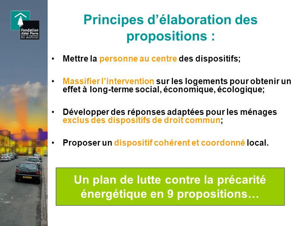 Un plan de lutte contre la précarité énergétique en 9 propositions… Mettre la personne au centre des dispositifs; Massifier lintervention sur les loge