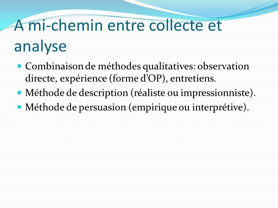 A mi-chemin entre collecte et analyse Combinaison de méthodes qualitatives: observation directe, expérience (forme dOP), entretiens.
