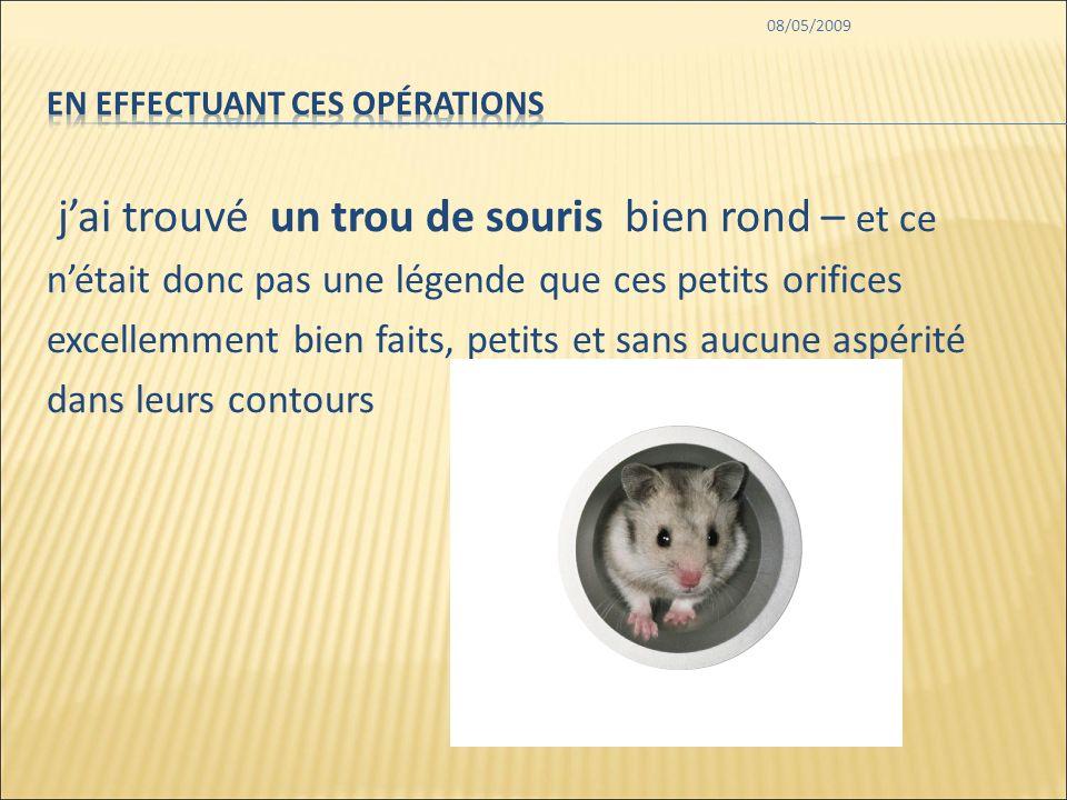08/05/2009 jai trouvé un trou de souris bien rond – et ce nétait donc pas une légende que ces petits orifices excellemment bien faits, petits et sans