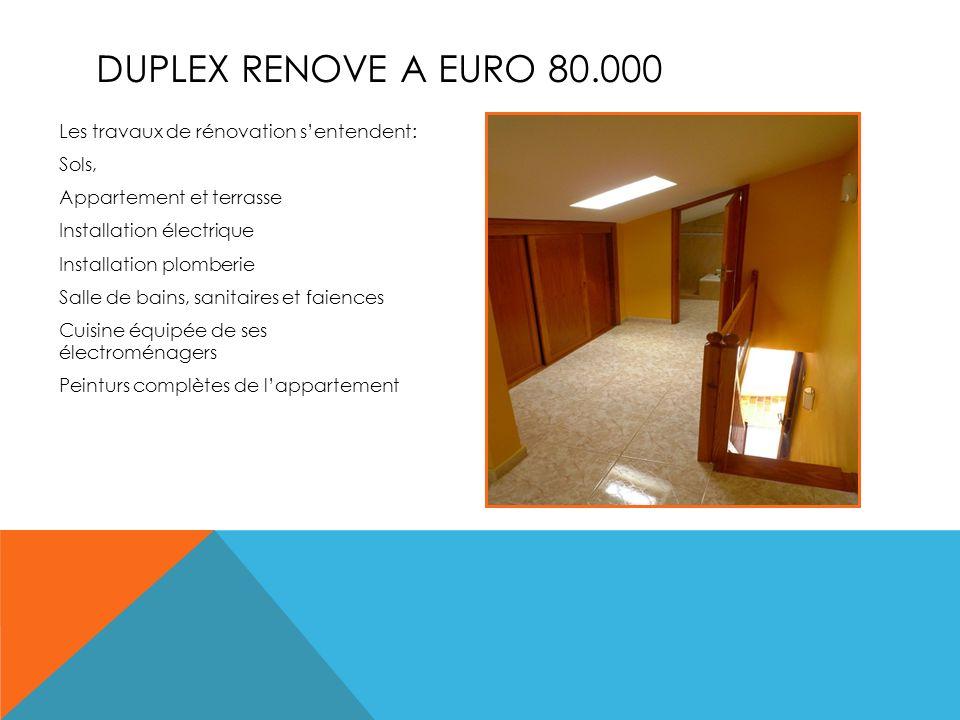 DUPLEX RENOVE A EURO 80.000 Les travaux de rénovation sentendent: Sols, Appartement et terrasse Installation électrique Installation plomberie Salle de bains, sanitaires et faiences Cuisine équipée de ses électroménagers Peinturs complètes de lappartement