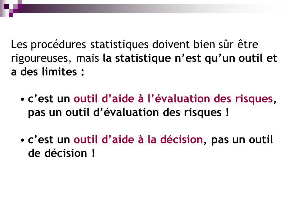 Les procédures statistiques doivent bien sûr être rigoureuses, mais la statistique nest quun outil et a des limites : cest un outil daide à lévaluation des risques, pas un outil dévaluation des risques .