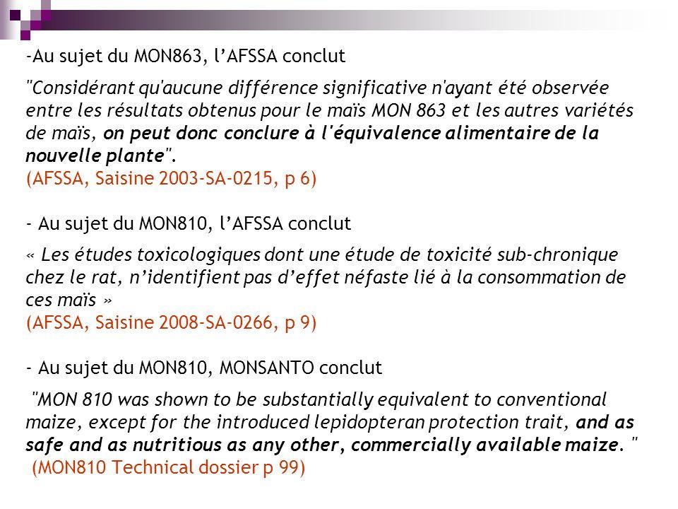 -Au sujet du MON863, lAFSSA conclut Considérant qu aucune différence significative n ayant été observée entre les résultats obtenus pour le maïs MON 863 et les autres variétés de maïs, on peut donc conclure à l équivalence alimentaire de la nouvelle plante .