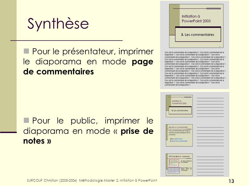 SURCOUF Christian (2005-2006) Méthodologie Master 2. Initiation à PowerPoint 13 Synthèse Pour le présentateur, imprimer le diaporama en mode page de c