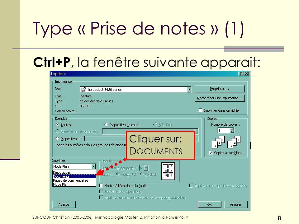 SURCOUF Christian (2005-2006) Méthodologie Master 2. Initiation à PowerPoint 8 Type « Prise de notes » (1) Ctrl+P, la fenêtre suivante apparait: Cliqu