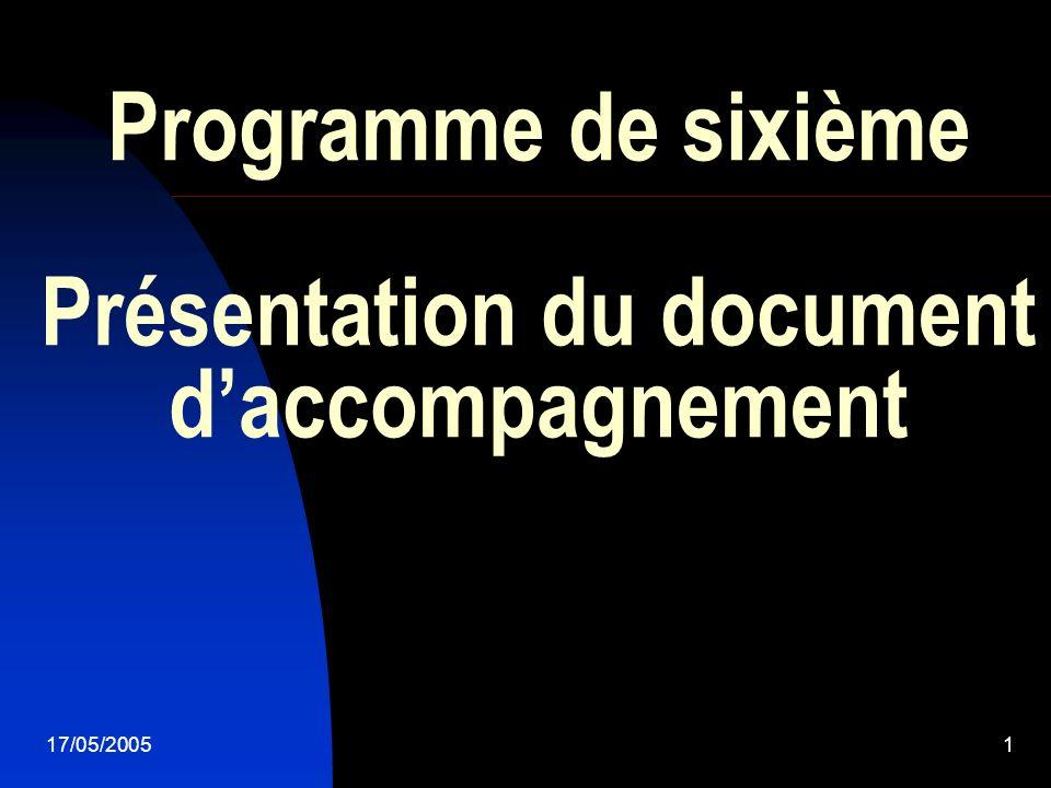 17/05/20051 Programme de sixième Présentation du document daccompagnement