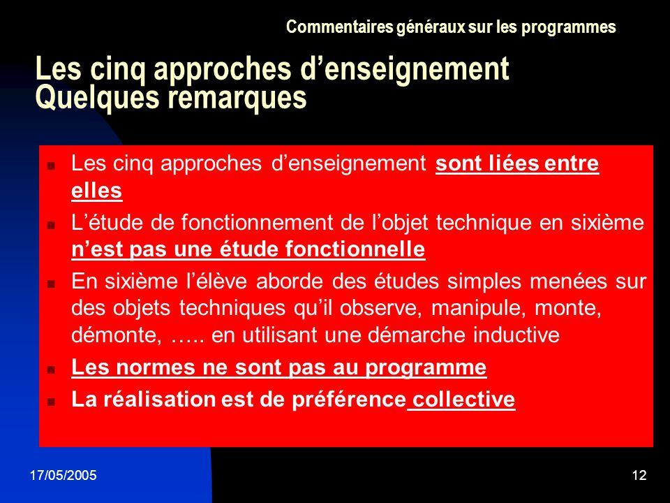 17/05/200512 Les cinq approches denseignement Quelques remarques Les cinq approches denseignement sont liées entre elles Létude de fonctionnement de l