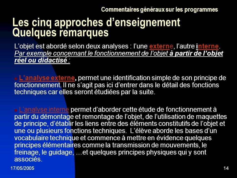 17/05/200514 Les cinq approches denseignement Quelques remarques Lobjet est abordé selon deux analyses : lune externe, lautre interne. Par exemple con