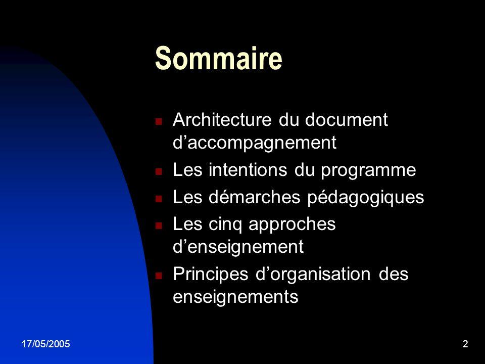 17/05/20052 Sommaire Architecture du document daccompagnement Les intentions du programme Les démarches pédagogiques Les cinq approches denseignement