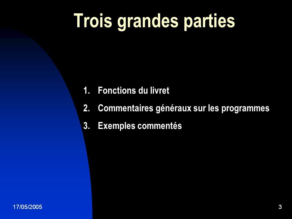 17/05/20053 Trois grandes parties 1.Fonctions du livret 2.Commentaires généraux sur les programmes 3.Exemples commentés