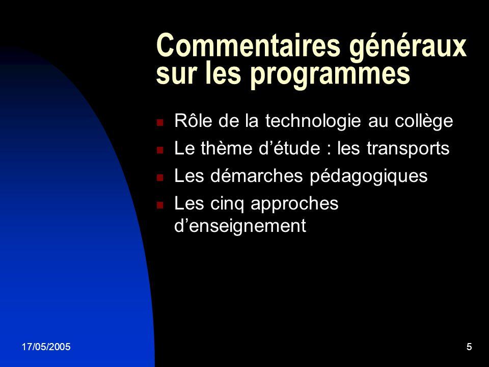 17/05/20055 Rôle de la technologie au collège Le thème détude : les transports Les démarches pédagogiques Les cinq approches denseignement Commentaire