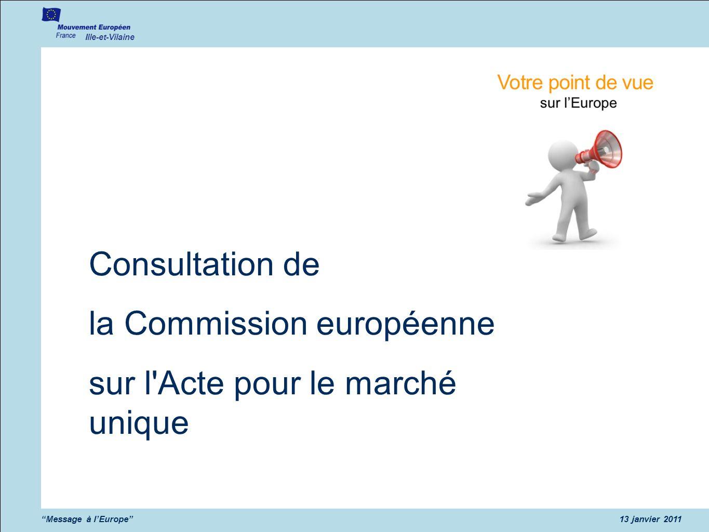 à notre réunion de rentrée 2009 Ille-et-Vilaine Message à lEurope13 janvier 2011 Consultation de la Commission européenne sur l Acte pour le marché unique