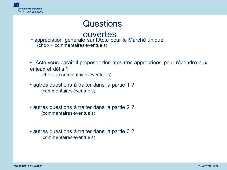 Ille-et-Vilaine Message à lEurope13 janvier 2011 Questions ouvertes appréciation générale sur lActe pour le Marché unique (choix + commentaires éventu