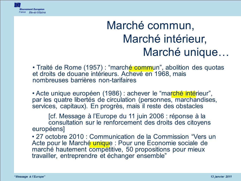 Ille-et-Vilaine Message à lEurope13 janvier 2011 Marché commun, Marché intérieur, Marché unique… Traité de Rome (1957) : marché commun, abolition des quotas et droits de douane intérieurs.
