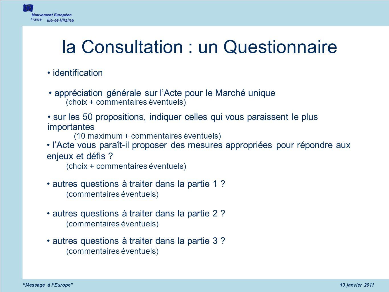 Ille-et-Vilaine Message à lEurope13 janvier 2011 la Consultation : un Questionnaire identification appréciation générale sur lActe pour le Marché uniq