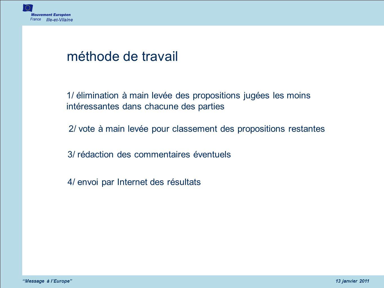 Ille-et-Vilaine Message à lEurope13 janvier 2011 méthode de travail 1/ élimination à main levée des propositions jugées les moins intéressantes dans c