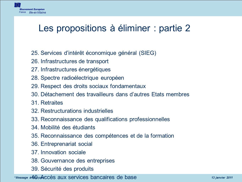 Ille-et-Vilaine Message à lEurope13 janvier 2011 Les propositions à éliminer : partie 2 25. Services dintérêt économique général (SIEG) 26. Infrastruc
