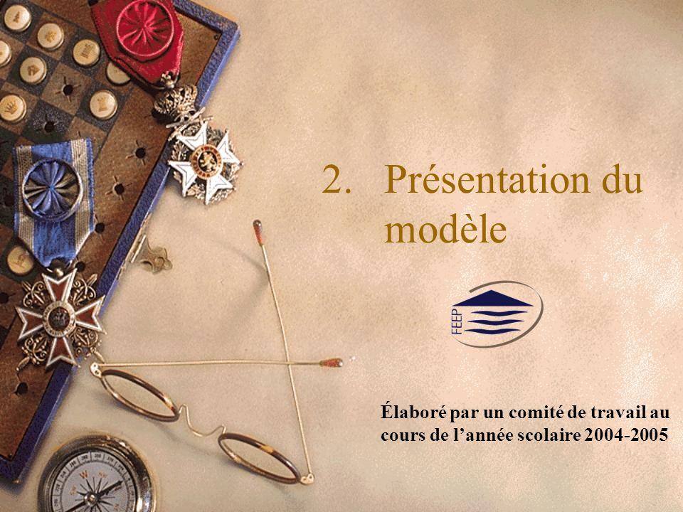2.Présentation du modèle Élaboré par un comité de travail au cours de lannée scolaire 2004-2005