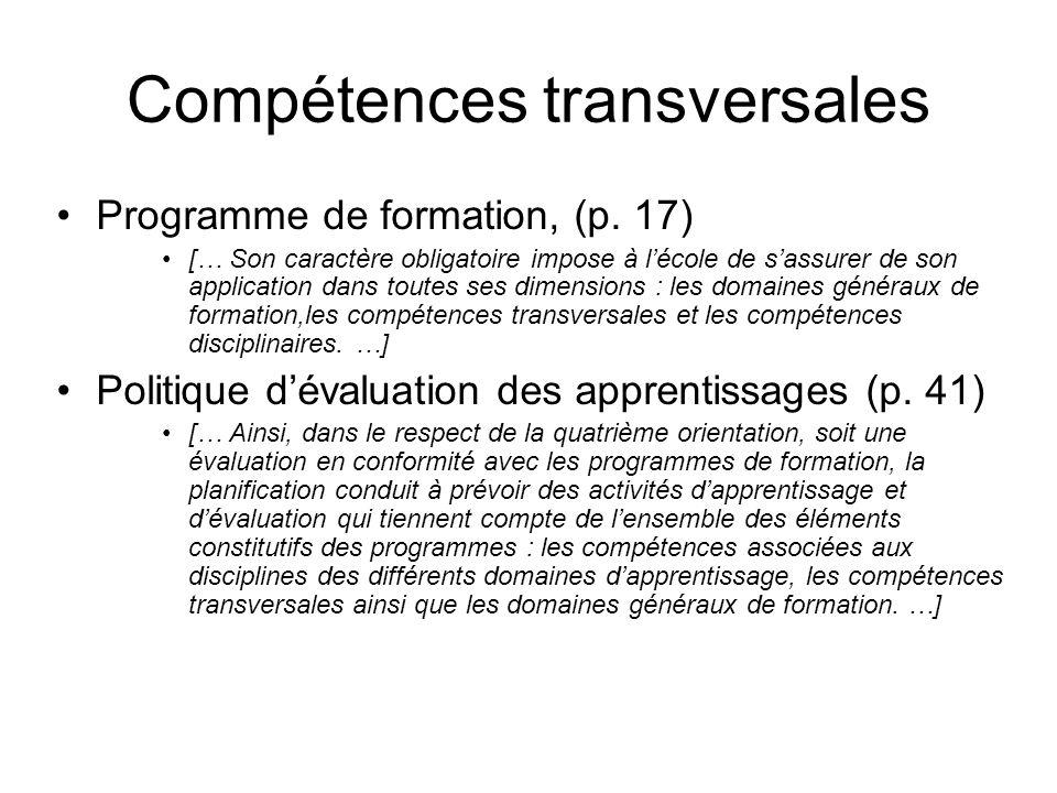 Compétences transversales Programme de formation, (p.