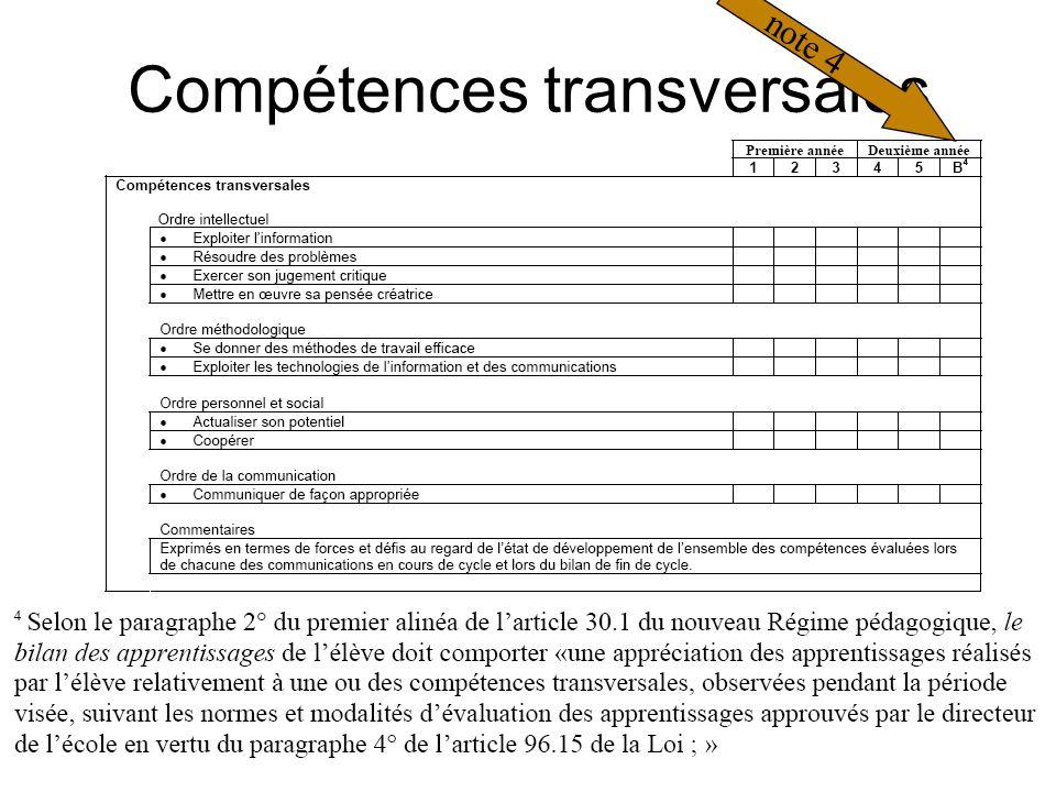 Compétences transversales note 4