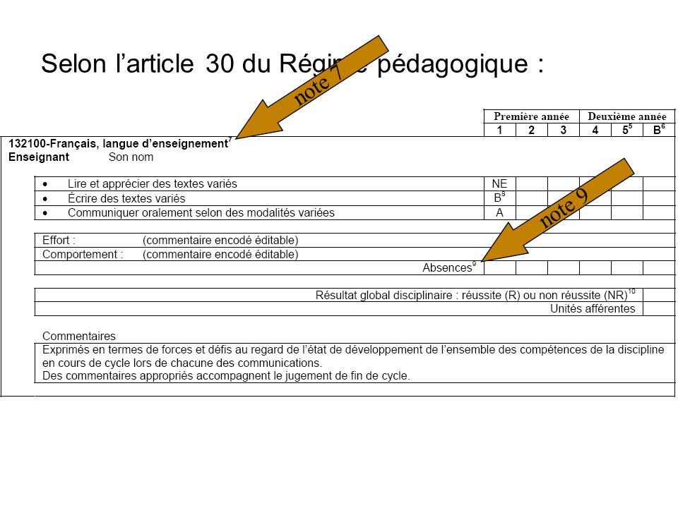 Selon larticle 30 du Régime pédagogique : note 7note 9