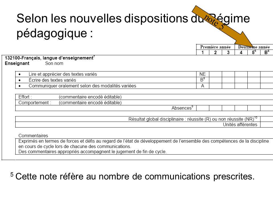 Selon les nouvelles dispositions du Régime pédagogique : 5 Cette note réfère au nombre de communications prescrites.