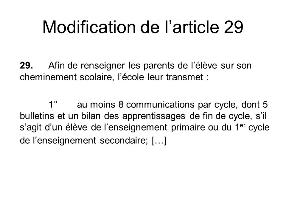 Modification de larticle 29 29.