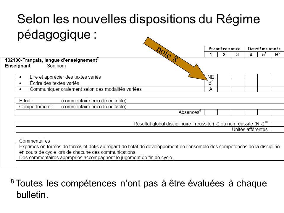 Selon les nouvelles dispositions du Régime pédagogique : 8 Toutes les compétences nont pas à être évaluées à chaque bulletin.