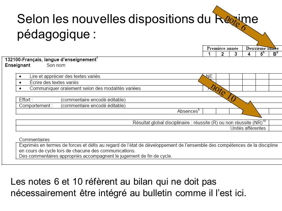 Selon les nouvelles dispositions du Régime pédagogique : Les notes 6 et 10 réfèrent au bilan qui ne doit pas nécessairement être intégré au bulletin comme il lest ici.