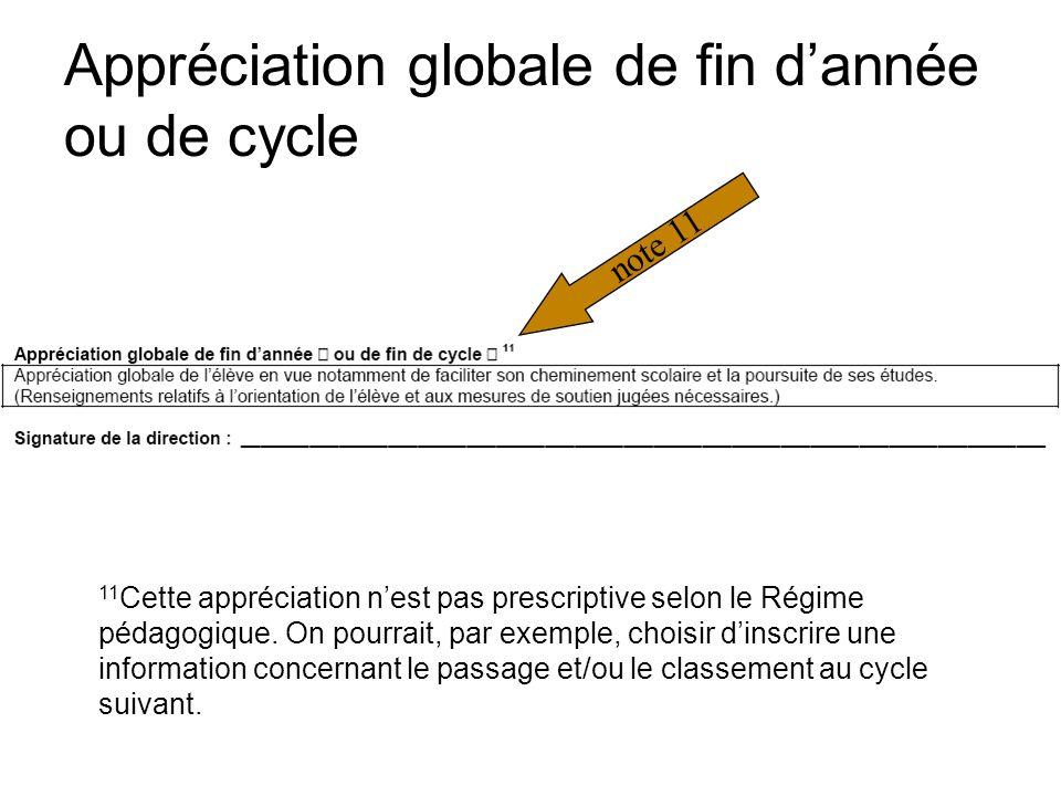 Appréciation globale de fin dannée ou de cycle note 11 11 Cette appréciation nest pas prescriptive selon le Régime pédagogique.