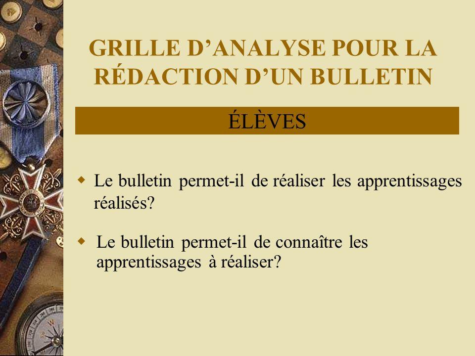 GRILLE DANALYSE POUR LA RÉDACTION DUN BULLETIN Le bulletin permet-il de réaliser les apprentissages réalisés.