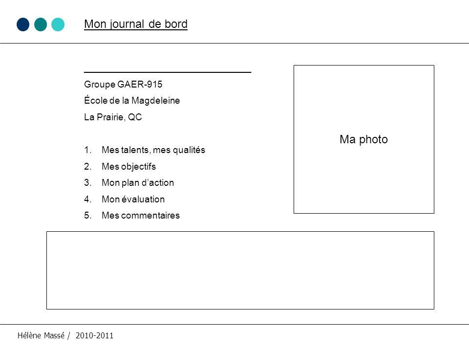 Mon journal de bord __________________________ Groupe GAER-915 École de la Magdeleine La Prairie, QC 1.Mes talents, mes qualités 2.Mes objectifs 3.Mon