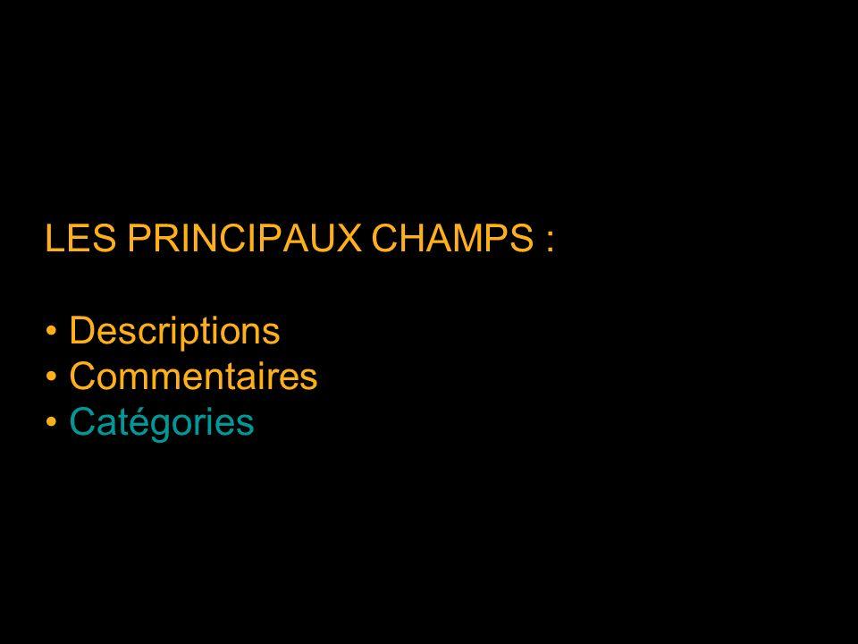 LES PRINCIPAUX CHAMPS : Descriptions Commentaires Catégories