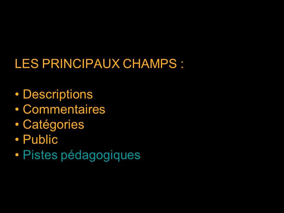 LES PRINCIPAUX CHAMPS : Descriptions Commentaires Catégories Public Pistes pédagogiques